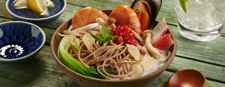 Thai Seafood Wholewheat Noodle Soup